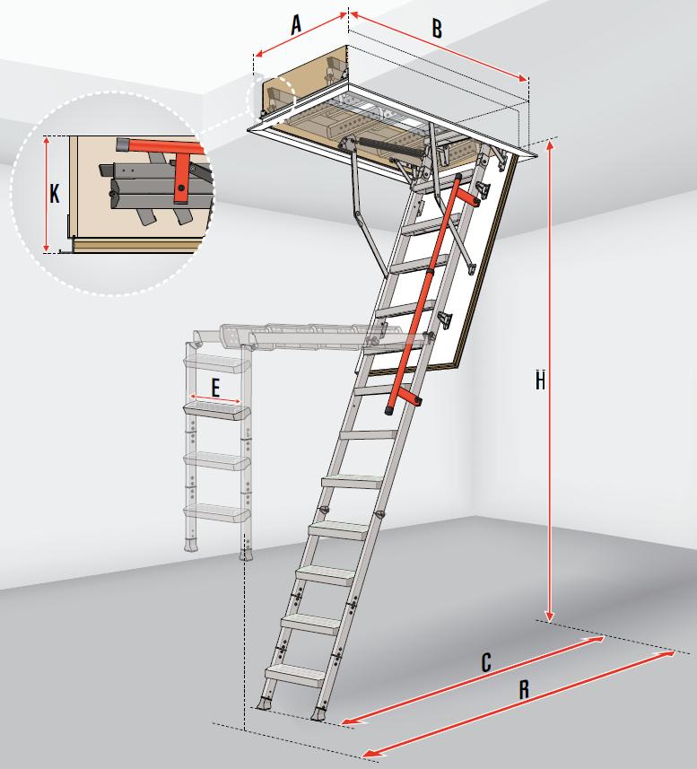 fakro escalier escamotable lml lux avec une echelle en metallique m canisme d all gement. Black Bedroom Furniture Sets. Home Design Ideas