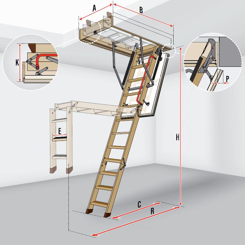 fakro escalier escamotable ltk energy avec une echelle en. Black Bedroom Furniture Sets. Home Design Ideas