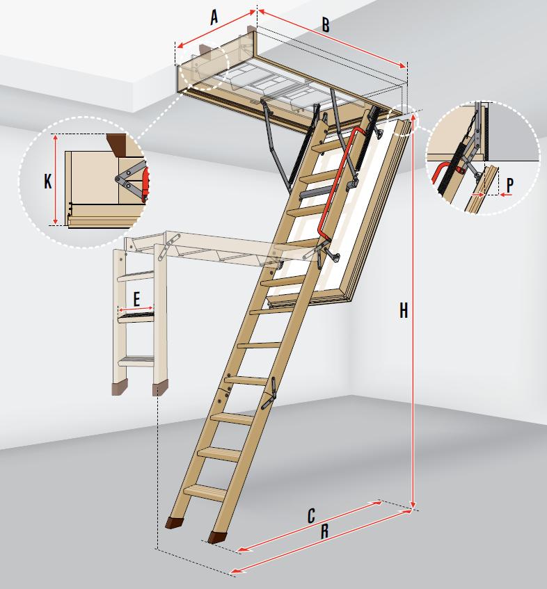 fakro escalier escamotable lwt avec une echelle en bois super thermo isolant. Black Bedroom Furniture Sets. Home Design Ideas